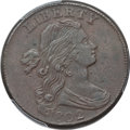 Large Cents, 1802 1C -- Environmental Damage -- PCGS Genuine. XF Details. NGCCensus: (33/117). PCGS Population (51/104). Mintage: 3,435...