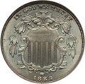 Shield Nickels: , 1883 5C MS66 NGC. CAC. NGC Census: (90/16). PCGS Population(109/9). Mintage: 1,456,919. Numismedia Wsl. Price for problem ...