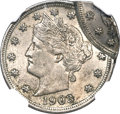 Errors, 1903 5C Liberty Nickel -- Double Struck, 2nd Strike 80% Off Center-- MS62 NGC....