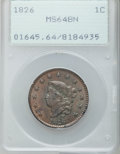 Large Cents, 1826 1C MS64 Brown PCGS. N-7, R.1....