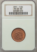 Half Cents, 1851 1/2 C MS64 Red NGC. C-1, B-1, R.1....