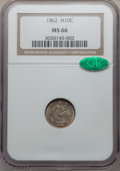 Seated Half Dimes, 1862 H10C MS66 NGC. CAC....