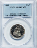 Proof Seated Quarters, 1869 25C PR64 Cameo PCGS....