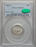 Seated Dimes, 1884-S 10C MS64 PCGS. CAC....