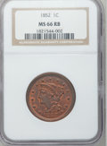 Large Cents, 1852 1C MS66 Red and Brown NGC. N-10, High R.2....