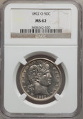 Barber Half Dollars, 1892-O 50C MS62 NGC....