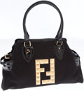 Luxury Accessories:Bags, Fendi Black Patent Leather and Canvas Bag de Jour Media ShoulderBag with Pyramid Stud Monogram. ...
