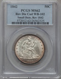 Seated Half Dollars, 1842 50C Small Date, Large Letters -- Reverse Die Cud -- MS62 PCGS.WB-102....
