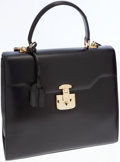 Luxury Accessories:Bags, Gucci Black Leather Two-Way Top Handle Bag with Shoulder Strap. ...