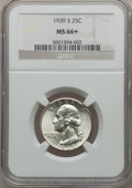 Washington Quarters: , 1939-S 25C MS66+ NGC. NGC Census: (223/33). PCGS Population(288/27). Mintage: 2,628,000. Numismedia Wsl. Price for problem...
