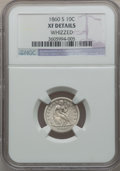 Seated Dimes: , 1860-S 10C -- Whizzed -- NGC Details. XF. NGC Census: (2/26). PCGSPopulation (11/32). Mintage: 140,000. Numismedia Wsl. Pr...
