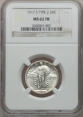 Standing Liberty Quarters: , 1917-S 25C Type Two MS62 Full Head NGC. NGC Census: (31/137). PCGSPopulation (39/227). Mintage: 5,552,000. Numismedia Wsl....