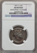 Barber Quarters: , 1897-O 25C -- Improperly Cleaned -- NGC Details. AU. NGC Census:(3/52). PCGS Population (8/75). Mintage: 1,414,800. Numism...