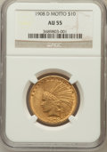 Indian Eagles: , 1908-D $10 Motto AU55 NGC. NGC Census: (45/601). PCGS Population(69/548). Mintage: 836,500. Numismedia Wsl. Price for prob...