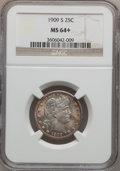 Barber Quarters: , 1909-S 25C MS64+ NGC. NGC Census: (25/25). PCGS Population (32/37).Mintage: 1,348,000. Numismedia Wsl. Price for problem f...