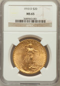 Saint-Gaudens Double Eagles: , 1910-D $20 MS65 NGC. NGC Census: (436/49). PCGS Population(953/115). Mintage: 429,000. Numismedia Wsl. Price for problem f...