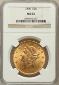 Liberty Double Eagles: , 1896 $20 MS63 NGC. NGC Census: (1429/176). PCGS Population(874/131). Mintage: 792,500. Numismedia Wsl. Price for problem f...