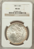 Morgan Dollars: , 1881-S $1 MS66 NGC. NGC Census: (16188/4214). PCGS Population(11984/1655). Mintage: 12,760,000. Numismedia Wsl. Price for ...