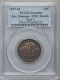 Standing Liberty Quarters: , 1917-D 25C Type Two -- Environmental Damage -- PCGS Genuine. UncDetails. NGC Census: (2/308). PCGS Population (3/387). Min...
