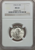 Standing Liberty Quarters: , 1926-D 25C MS64 NGC. NGC Census: (946/259). PCGS Population(1403/199). Mintage: 1,716,000. Numismedia Wsl. Price for probl...