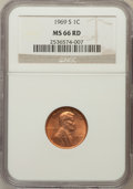 Lincoln Cents: , 1969-S 1C MS66 Red NGC. NGC Census: (130/7). PCGS Population(156/8). Mintage: 547,309,632. Numismedia Wsl. Price for probl...