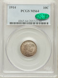 Barber Dimes: , 1914 10C MS64 PCGS. CAC. PCGS Population (291/196). NGC Census:(265/183). Mintage: 17,360,656. Numismedia Wsl. Price for p...