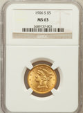 Liberty Half Eagles: , 1906-S $5 MS63 NGC. NGC Census: (63/33). PCGS Population (85/50).Mintage: 598,000. Numismedia Wsl. Price for problem free ...