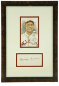 Autographs:Index Cards, George Sisler Signed Index Card Display. One of the finest heroesin excellence of early baseball history provides a tip-to...
