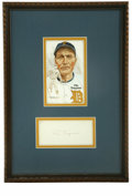 Autographs:Index Cards, Pie Traynor Signed Index Card Display. Lifetime Pittsburgh Pirates man Pie Traynor earned Hall of Fame status for his excep...