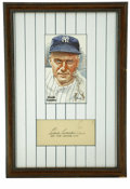 Autographs:Index Cards, Earle Combs Signed Index Card Display. The leadoff man for the exceptional '27 Bronx Bombers Earle Combs has applied a top-...