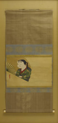 Asian:Chinese, Unknown Artist. Otafuku . 19th century, Chinese. Watercoloron silk. Unmarked. 46 x 21-1/4 inches (116.8 x 54.0 cm...