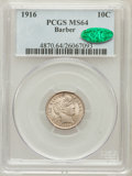 Barber Dimes: , 1916 10C MS64 PCGS. CAC. PCGS Population (326/150). NGC Census:(302/185). Mintage: 18,490,000. Numismedia Wsl. Price for p...
