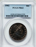 Proof Barber Half Dollars: , 1902 50C PR62 PCGS. PCGS Population (38/189). NGC Census: (24/186).Mintage: 777. Numismedia Wsl. Price for problem free NG...