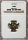 Proof Three Cent Nickels: , 1883 3CN PR64+ NGC. NGC Census: (310/868). PCGS Population(461/911). Mintage: 6,609. Numismedia Wsl. Price for problem fre...