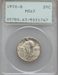 Standing Liberty Quarters: , 1930-S 25C MS63 PCGS. PCGS Population (180/578). NGC Census:(67/295). Mintage: 1,556,000. Numismedia Wsl. Price for proble...