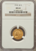 Indian Quarter Eagles: , 1910 $2 1/2 MS64 NGC. NGC Census: (778/184). PCGS Population(376/97). Mintage: 492,000. Numismedia Wsl. Price for problem ...