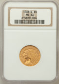 Indian Half Eagles: , 1908-D $5 MS63 NGC. NGC Census: (960/476). PCGS Population(1285/353). Mintage: 148,000. Numismedia Wsl. Price for problem ...