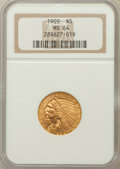 Indian Half Eagles: , 1909 $5 MS64 NGC. NGC Census: (397/74). PCGS Population (386/95).Mintage: 627,138. Numismedia Wsl. Price for problem free ...