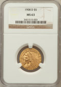 Indian Half Eagles: , 1908-D $5 MS63 NGC. NGC Census: (963/476). PCGS Population(1284/351). Mintage: 148,000. Numismedia Wsl. Price for problem ...