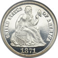 Proof Seated Dimes, 1871 10C PR66 ★ Cameo NGC. Fortin-101....