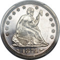 Proof Seated Quarters, 1874 25C Arrows PR63 Cameo PCGS. CAC....