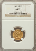 Liberty Quarter Eagles: , 1869-S $2 1/2 AU53 NGC. NGC Census: (19/105). PCGS Population(11/46). Mintage: 29,500. Numismedia Wsl. Price for problem f...