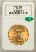Saint-Gaudens Double Eagles: , 1927 $20 MS66 NGC. CAC. NGC Census: (2345/49). PCGS Population(5452/13). Mintage: 2,946,750. Numismedia Wsl. Price for pro...