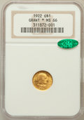 Commemorative Gold: , 1922 G$1 Grant With Star MS66 NGC. CAC. NGC Census: (332/117). PCGSPopulation (588/226). Mintage: 5,016. Numismedia Wsl. P...