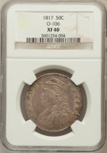 Bust Half Dollars: , 1817 50C XF40 NGC. O-106. NGC Census: (33/318). PCGS Population(66/362). Mintage: 1,215,567. Numismedia Wsl. Price for pr...