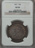 Bust Half Dollars: , 1827 50C Square Base 2 AU50 NGC. NGC Census: (127/1479). PCGSPopulation (187/1087). Mintage: 5,493,400. Numismedia Wsl. Pr...