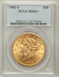 Liberty Double Eagles: , 1902-S $20 MS62+ PCGS. PCGS Population (1307/624). NGC Census:(1355/346). Mintage: 1,753,625. Numismedia Wsl. Price for pr...