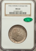 Commemorative Silver: , 1926 50C Sesquicentennial MS64 NGC. CAC. NGC Census: (1781/287).PCGS Population (2014/287). Mintage: 141,120. Numismedia W...