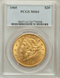 Liberty Double Eagles: , 1905 $20 MS61 PCGS. PCGS Population (134/271). NGC Census:(223/162). Mintage: 58,900. Numismedia Wsl. Price for problem fr...