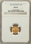 Commemorative Gold: , 1903 G$1 Louisiana Purchase/Jefferson MS64 NGC. NGC Census:(584/960). PCGS Population (935/1310). Mintage: 17,500. Numisme...